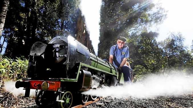 TOOT TOOT: Having fun at Tropical Fruit World Miniature Railway is Steam Kings Darryl Moore