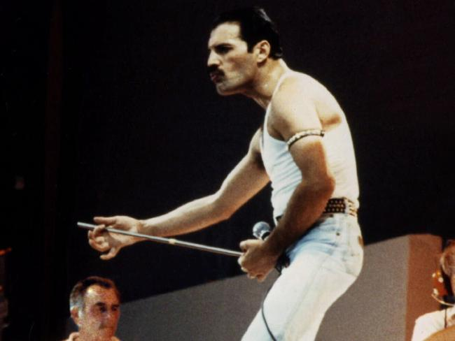 Freddie Mercury, lead singer with band Queen performing at Wembley Stadium for  Live Aid  concert (Picture: Universal Pictorial