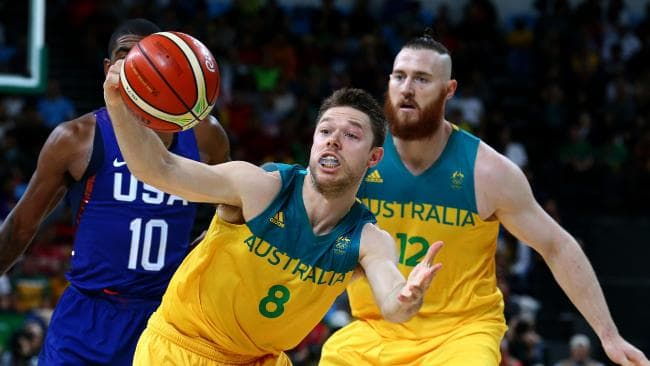 Matthew Dellavedova and Aron Baynes in action for the Boomers. Picture: Adam Head