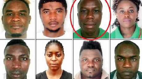 Simplice Fotsala (circled) among the eight fellow Cameroon missing athletes.