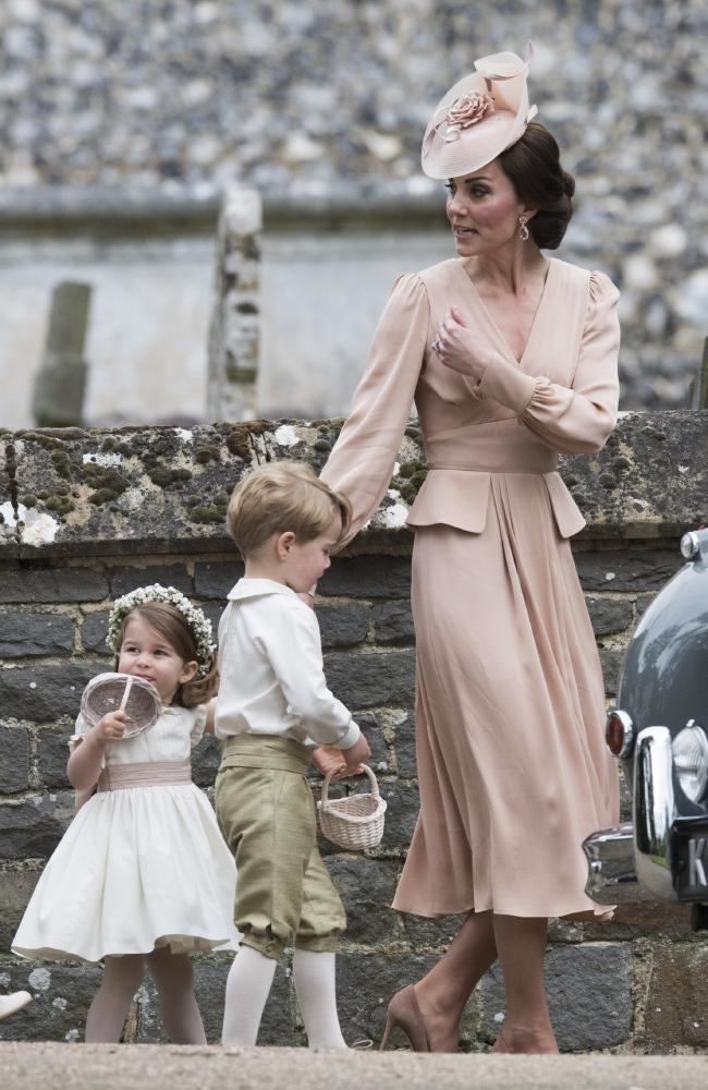 Catherine, Duchess of Cambridge, with Prince George and Princess Charlotte at her sister's wedding in May 2017. Picture: Arthur Edwards — WPA Pool/Getty Images.