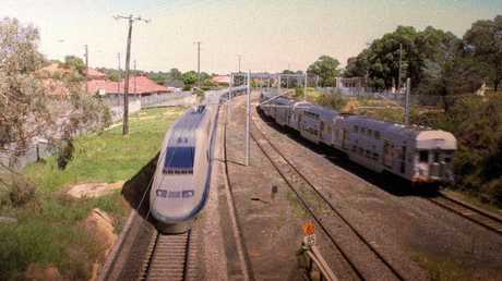 "An artist's impression from the 1990s of a ""speed rail"" high speed train shooting through the Sydney suburbs."