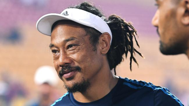 Coach Tana Umaga, happy after the Blues' tournament victory at the Global Rugby Tens in Brisbane. Picture: Dave Hunt/AAP