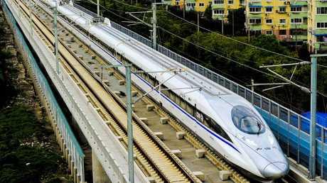 A Chinese high-speed train leaves Shanghai.