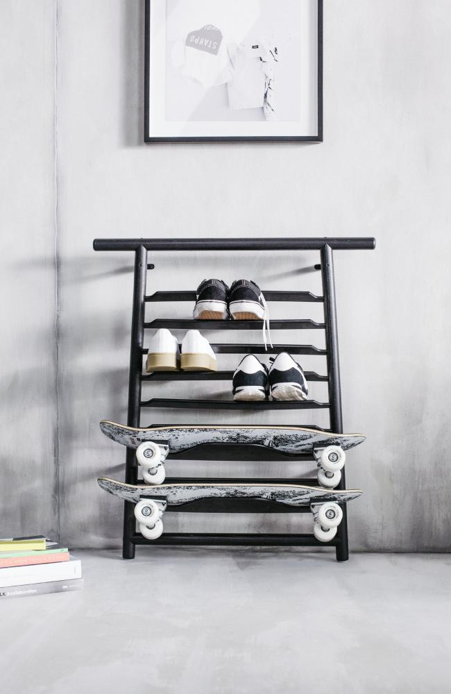 This new piece doubles as a shoe and skateboard rack.
