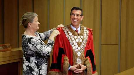 Swearing-in ceremony of Ipswich Mayor Andrew Antoniolli. He replaced Paul Pisasale as mayor last year but stood down from the position after being charged with seven counts of fraud earlier this month.