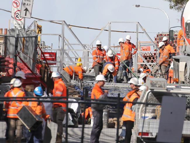 Light rail construction on Devonshire St, Surry Hills this week. Picture: John Grainger
