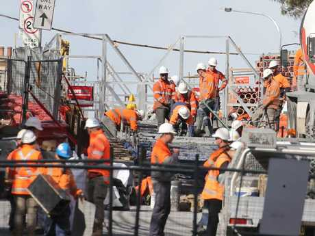 Light rail construction on Devonshire St, Surry Hills this week. Picture: John Grainger