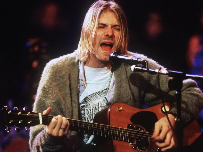 The acoustic guitar Kurt Cobain used on MTV's Unplugged in 1993 is said to be worth millions. Picture: Frank Micelotta