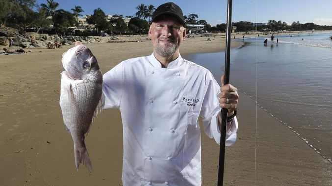 Chef Matt Golinski gears up for this week's Noosa Food & Wine Festival at Main Beach, Noosa. Picture: Mark Cranitch