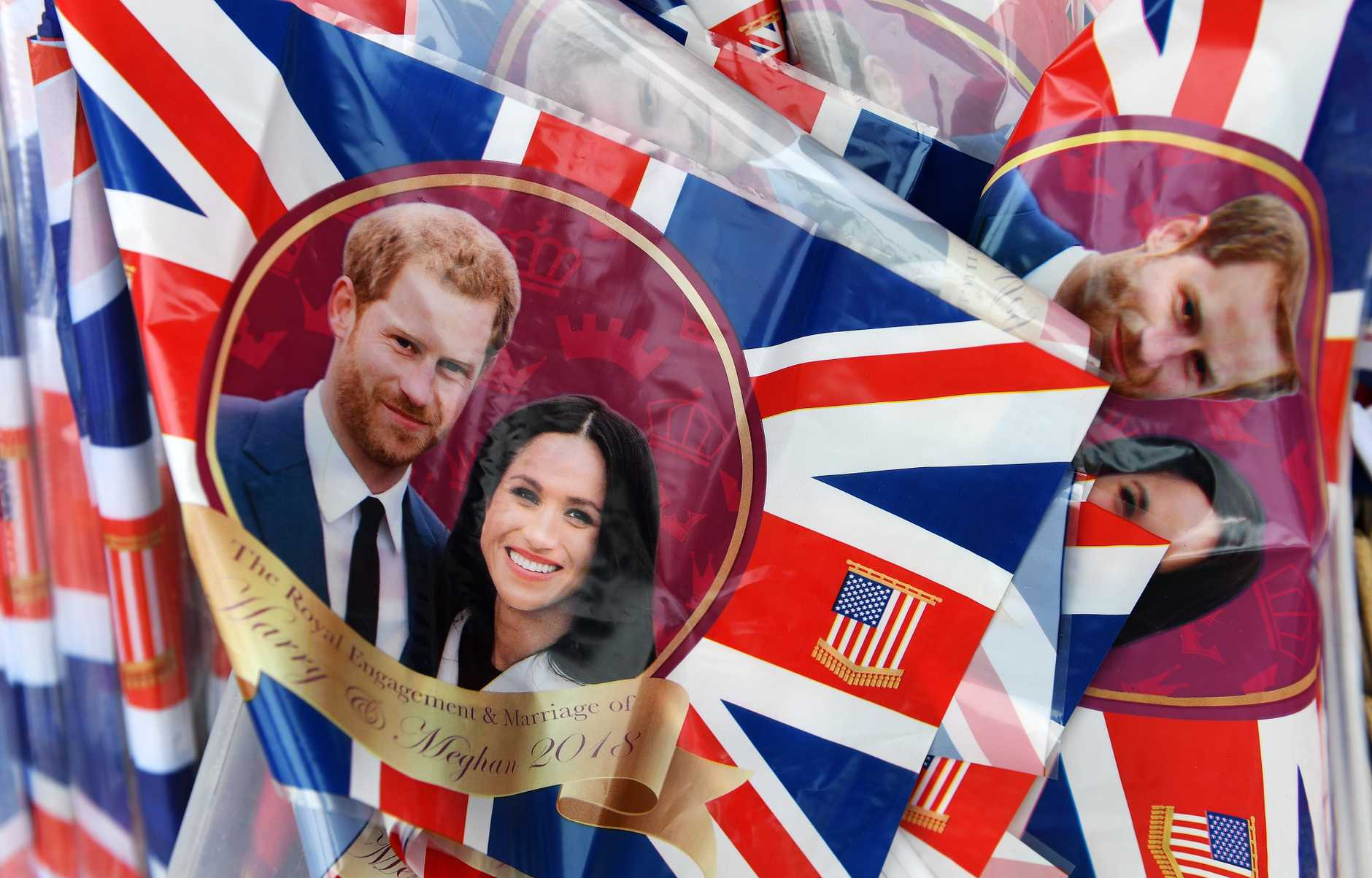 Royal wedding plastic flags with Prince Harry and Meghan Markle on sale at a store in Windsor, Britain. Windsor is preparing for the royal wedding of Prince Harry and Meghan Markle on May 19.
