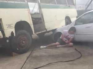 Simulated bus crash