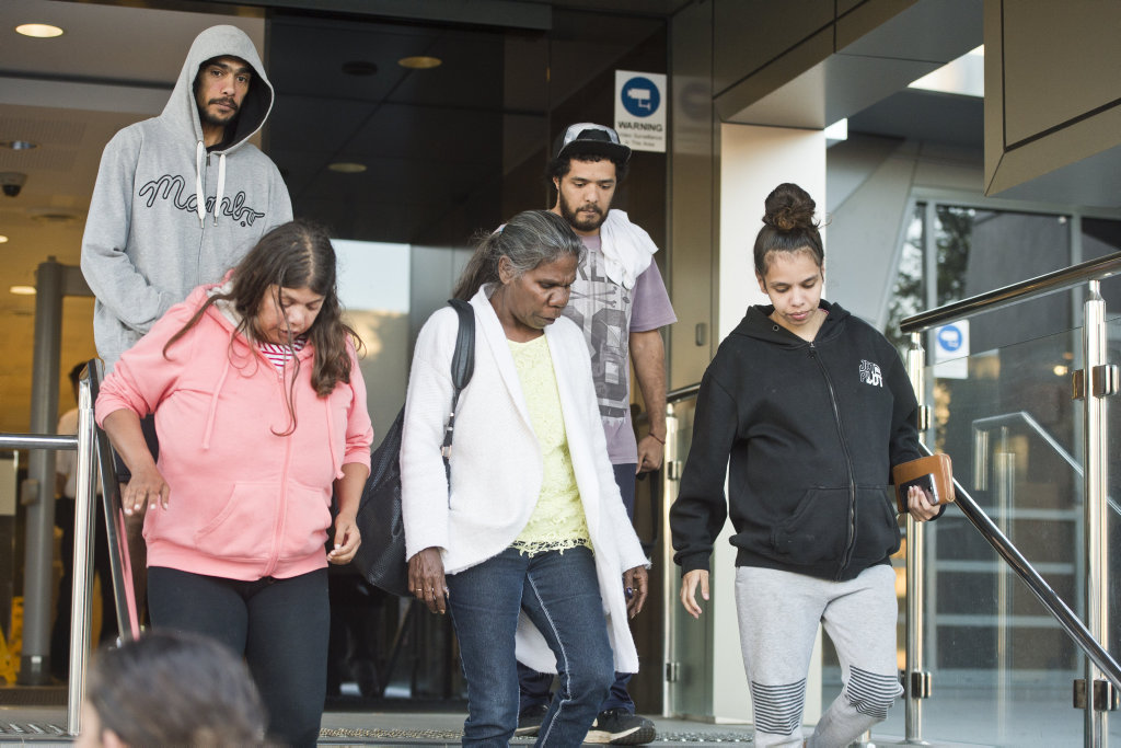Friends and family of Debbie Combarngo and the nine accused and charged with her murder leave Toowoomba Court House. Thursday, 17th May, 2018.