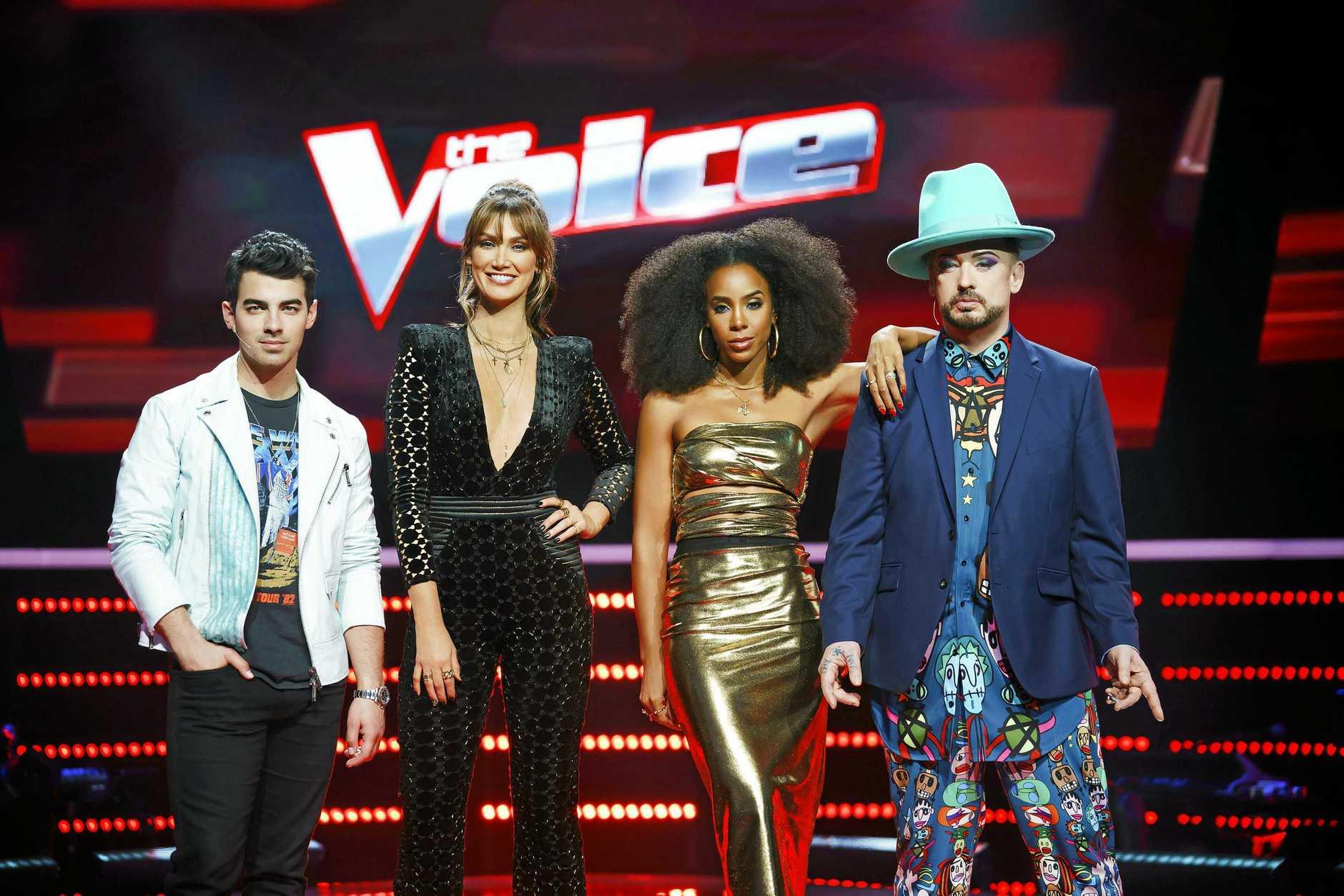 The Voice's 2018 season coaches (from left) Joe Jonas, Delta Goodrem, Kelly Rowland and Boy George.