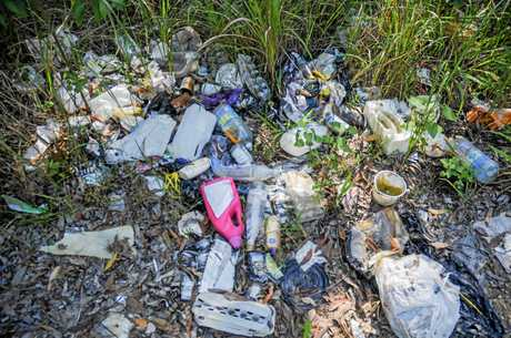 Only 50 metres off Bucca Road in Moonee, people are dumping their household rubbish in the bush.
