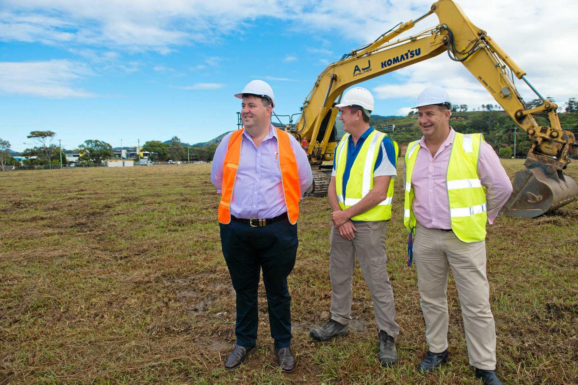 Steve Gooley announces the start of works on the $100 million Shoreline luxury aged care development at Park Beach.