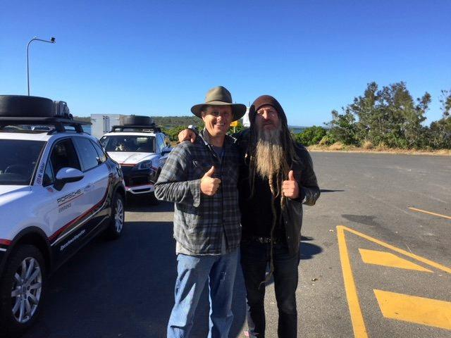 Fraser Coast's Kane Carpenter with fashion designer and Porsche ambassador Magnus Walker.