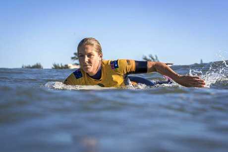 Stephanie Gilmore during heat three of the Oi Rio Pro at Itana Beach, Saquarema, Brazil.