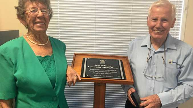 A LIFETIME OF SERVICE: Jean Williams and former Barcaldine Hospital board manager Lionel Walsh.