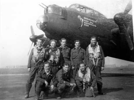 Travis Schultz's grandfather, RAAF wing commander pilot Jack O'Brien and his crew during World War II.