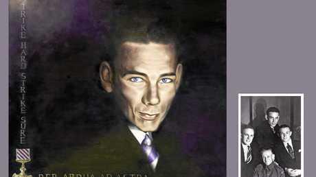 Anna Rubin's portrait of Mr Schultz grandfather, Jack O'Brien, which was unveiled at the launch of Travis Schultz Law last night.