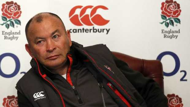 England coach Eddie Jones attends a press conference at Pennyhill Park.