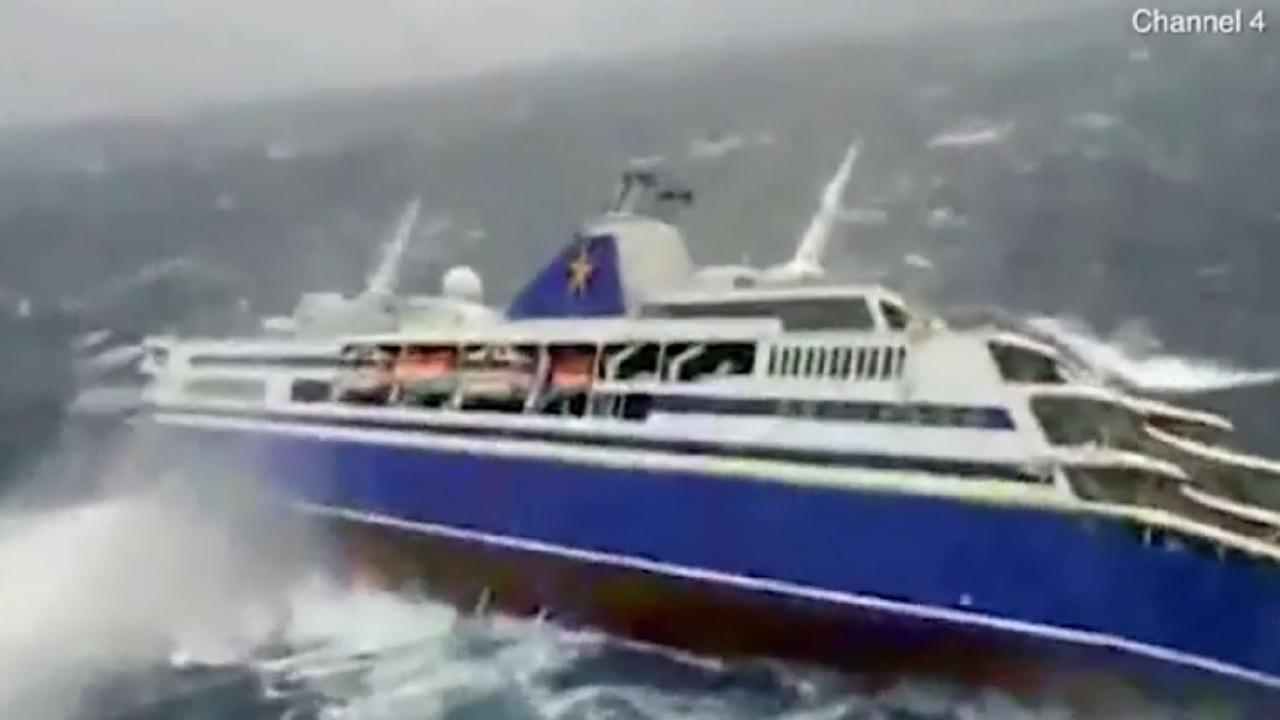 A cruise ship packed with holiday-makers is thrashed in massive waves. Pictures: Channel 4