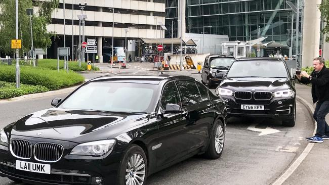 An entourage of cars are pictured exiting Heathrow Airport believed to be driving Meghan Markle's mum, Doria Ragland. Picture: Supplied