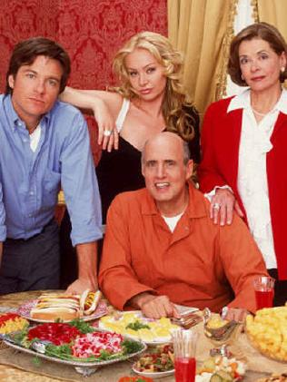 Arrested Development actors Jeffrey Tambor (front), Jason Bateman, Portia de Rossi and Jessica Walter. Picture:  Supplied