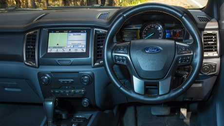 The Ford Ranger interior is starting to look a bit tired but it still has the most standard technology. Picture: Mark Bean.