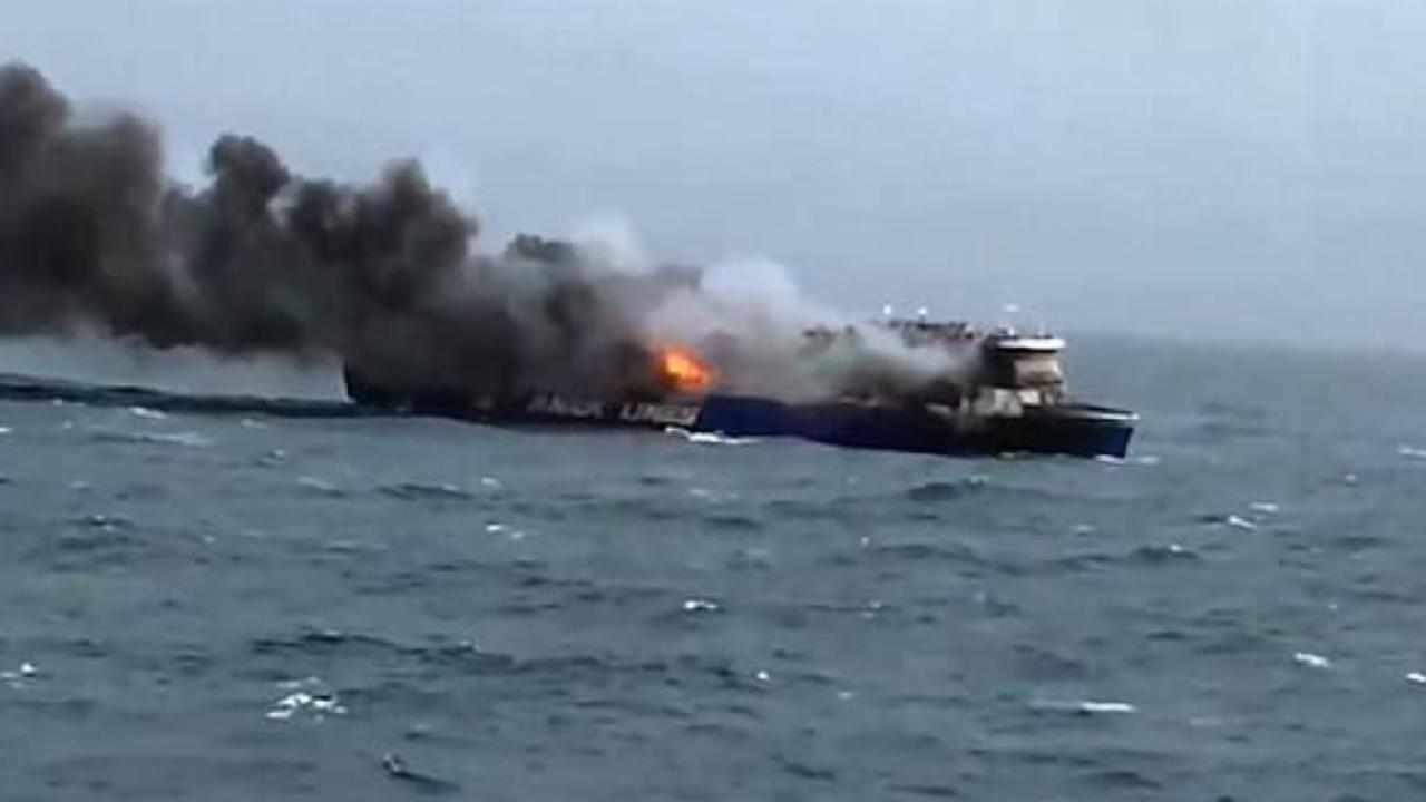 Another ship is shown with a massive blaze on board. Picture: Channel 4