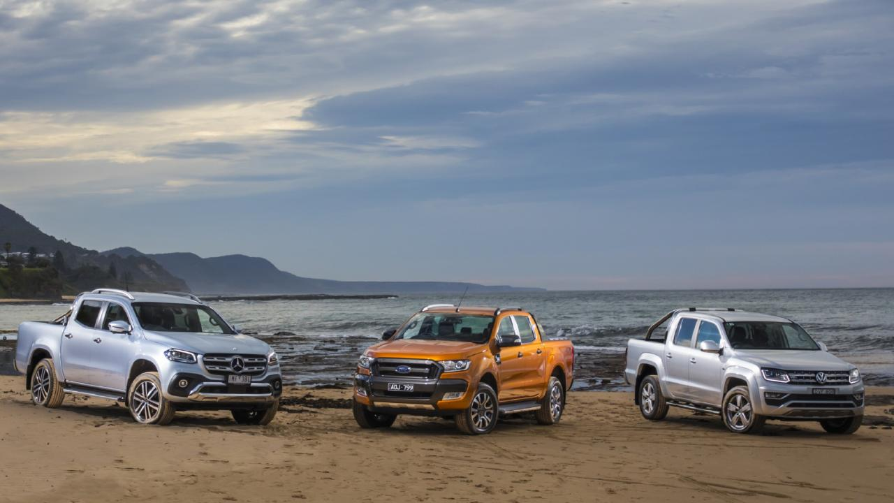 Mercedes-Benz X-Class (left), Ford Ranger Wildtrak (centre) and VW Amarok TDV6 (right). Picture: Mark Bean.