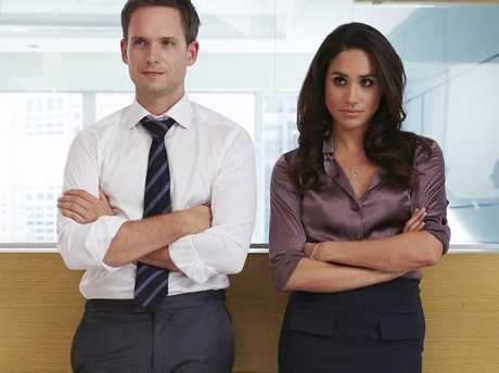 Meghan Markle, pictured with co-star Patrick J Adams, worked hard to grow her career, and was the star of the hit show Suits for seven seasons. Picture: Shane Mahood/USA Network