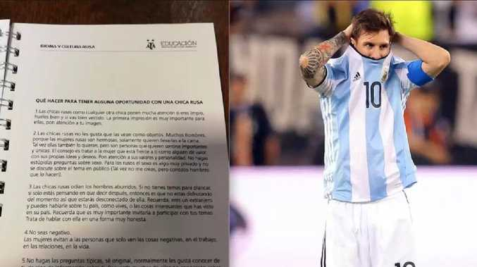 Argentinian FA sorry for guide on how to talk to Russian women