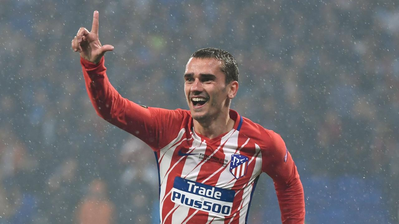 Atletico Madrid's French forward Antoine Griezmann celebrates after scoring his second goal