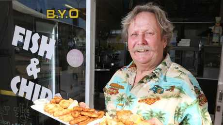 Stan Janczyk was having a coffee outside his Kirra fish and chip shop when he was run over by a car. Picture Glenn Hampson