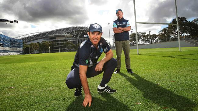 NSW Origin coach Brad Fittler and Blues adviser Greg Alexander at the Blues new training ground at Sydney Olympic Park. Picture. Phil Hillyard