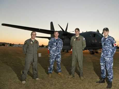 The Darling Downs crew of the RAAF C-27J Spartan aircraft (from left) Doug Linnett, Alex Milburn, Oliver Kersnovski and Michael Whitney.