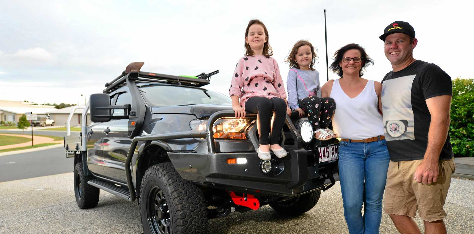 RARING TO GO: The Miller family is ready for a round Australia trip in their new Ranger, with a heap of new equipment from Sunshine Coast 4x4 and Outdoor.