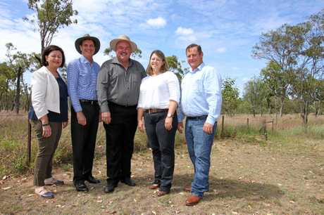 BEEF PLANS: Isaac Mayor Anne Baker, Minister  Dr Anthony Lynham, ALP candidate for Burdekin Mike Brunker, and  Josie and Blair Angus. Mr Angus is in early discussions with NAIF about funding for the beef processing facility.