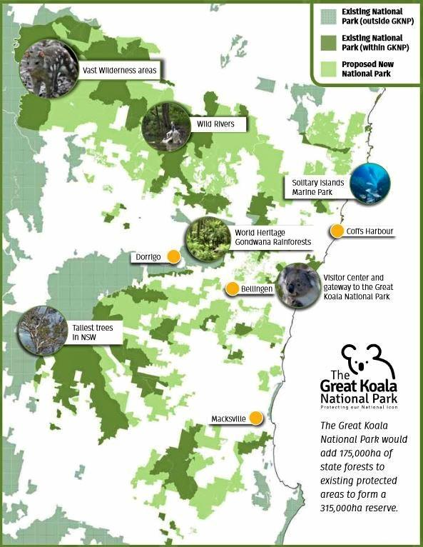 The Great Koala National Park proposal map.