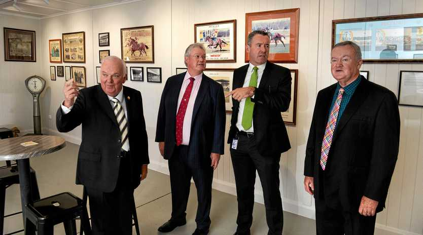 MAGIC MEMORIES: Racing Queensland CEO Brendan Parnell (second from right) is joined by respected trainer Anthony Cummings and Ipswich Turf Club committee members Liam Tansey (left) and Brian North at the opening of the Ipswich Racing Museum.