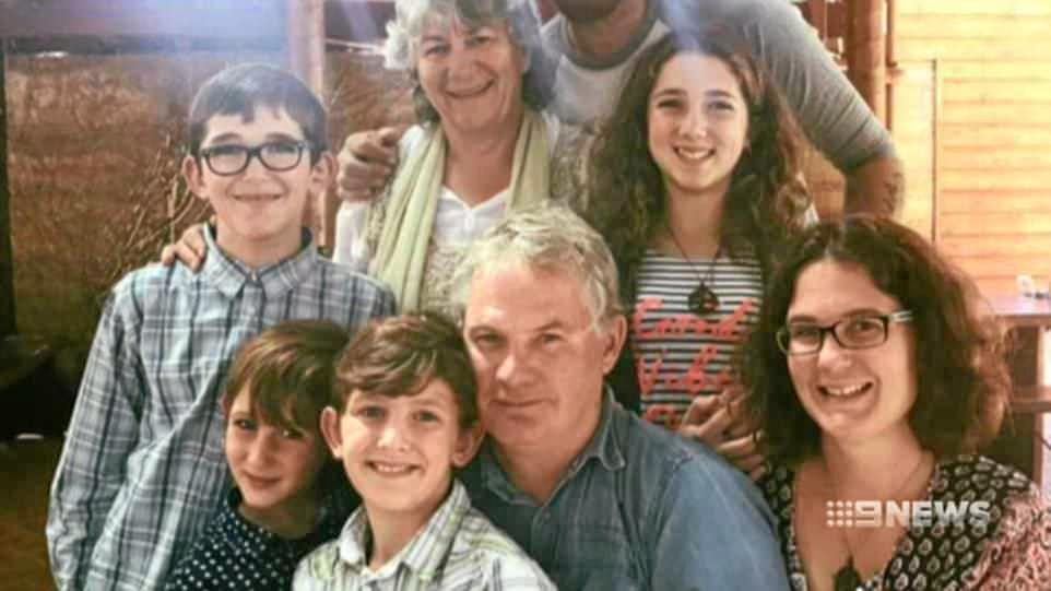 61-year-old Peter Miles (centre), with his wife Cynda Miles (back), their daughter Katrina Miles (R) and her four children. Peter is believed to have shot his wife, his daughter and his daughters four children in a murder-suicide in Osmington on Friday, May 11, 2018. Picture: Courtesy of Nine News
