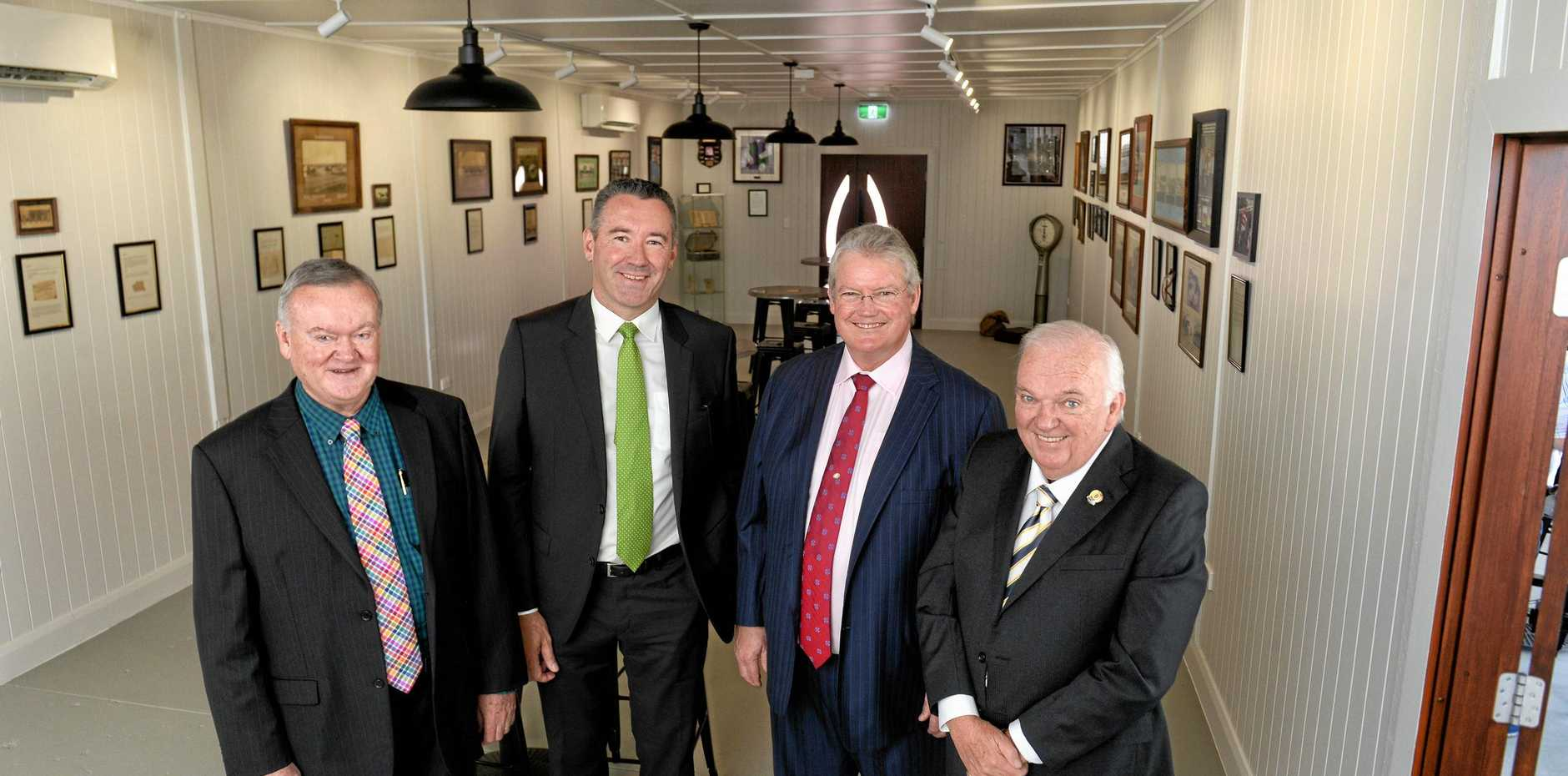 Trainer Anthony Cummings (second from right) with Racing Queensland CEO Brendan Parnell and Ipswich Turf Club committee members Brian North (left) and Liam Tansey at the opening of the Ipswich Racing Museum.