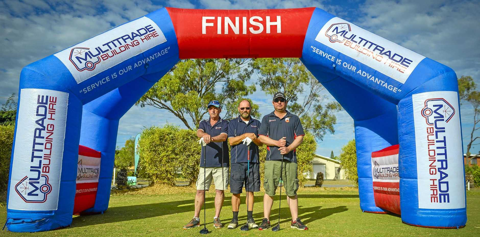 The staff from Multitrade Building Hire, the major sponsor of The Rotary Club of South Gladstone's golf charity day.