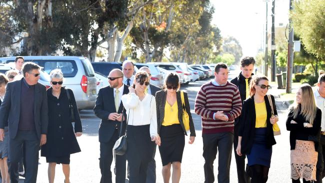 Stephanie Scott's family and friends including fiance Aaron Leeson-Woolley (striped jumper) arrive for killer Vincent Stanford's sentencing. Picture: Paul Miller.
