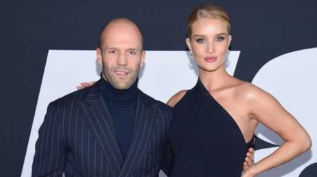 Statham with fiancee Rosie Huntington-Whiteley. Picture: Dimitrios Kambouris/Getty Images