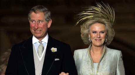 Prince Charles and Camilla, the Duchess of Cornwall leave a blessing at St George's Chapel after their civil wedding in 2005. Picture: AFP/Toby Melville/WPA Pool