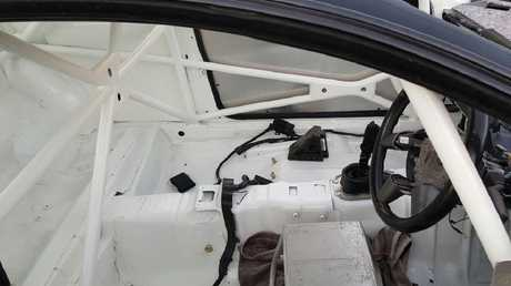 Part of the roll cage, ready for racing. Picture: NSW Police Facebook Page.