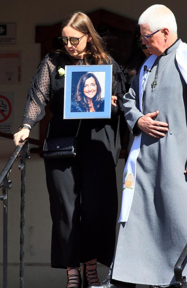 Sarah Ristevski leaves St Johns Uniting Church in Essendon, Melbourne at her mother's funeral in March, 2016. Picture: Aaron Francis/The Australian
